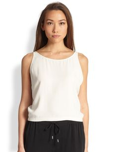 Eileen Fisher Silk Scoopneck Short Tank