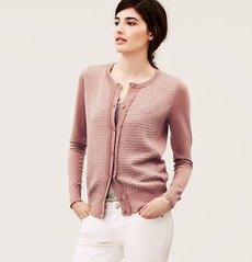 Diamond Stitch Scalloped Ruffle Cardigan