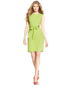 Ellen Tracy Sleeveless Tie-Front Sheath