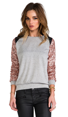 T-Bags LosAngeles Embellished Sleeve Sweater in Gray