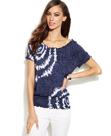 INC International Concepts Short-Sleeve Tie-Dye Peasant Top