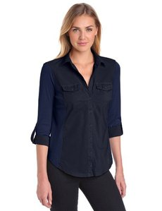 Three Dots Red Women's Half Sleeve Button Down Shirt