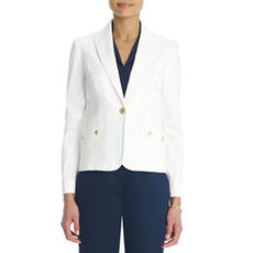 Stretch Cotton One Button Blazer (Plus)