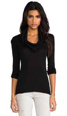 Michael Stars 3/4 Sleeve Cowl Neck in Black