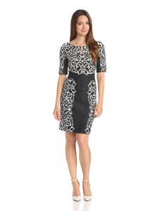laundry BY SHELLI SEGAL Women's Divine Vine Placement Print Ponte Dress