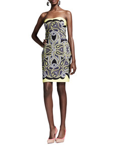 Lanvin Techno Paisley Mosaic Dress, Yellow