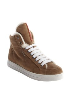 Prada desert suede lace up high top sneakers