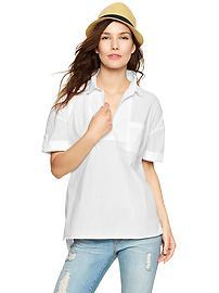 Split-neck poplin top