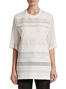 3.1 Phillip Lim Striped Silk-Chiffon Paneled Tee