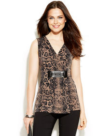 Alfani Petite Sleeveless Animal-Print Faux Top