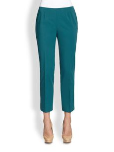 Lafayette 148 New York Cropped Bleecker Side-Zip Slim Pants