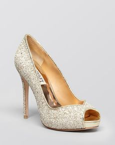 Badgley Mischka Peep Toe Platform Evening Pumps - Kassidy