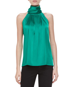 Michael Kors Sleeveless Charmeuse Turtleneck, Emerald