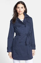 London Fog Polka Dot Double Breasted Trench Coat