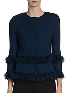 St. John Couture Faux??? Fur-Trimmed Knit Jacket