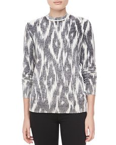 Michael Kors Ikat-Print Cashmere Top, Black/White