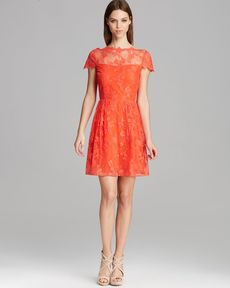 Cynthia Steffe Dress - Hannah Cap Sleeve Illusion Neck Lace Fit and Flare