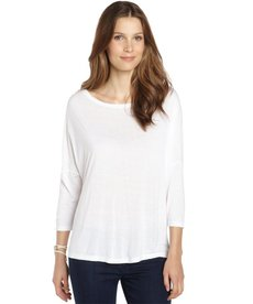 Three Dots white stretch jersey boxy top