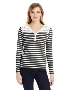 Jones New York Women's Long Sleeve V-Neck Henley with Lace Yoke