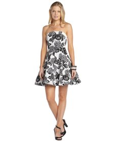 A.B.S. by Allen Schwartz black and white stretch cotton blend floral print strapless flare dress