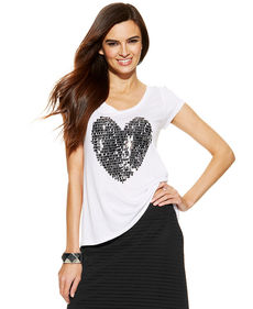 INC International Concepts Short-Sleeve Sequined Heart Top