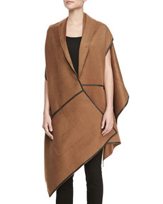 Lafayette 148 New York Cashmere Leather-Trim Wrap