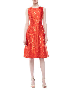 Michael Kors Agate-Print Shantung Dress