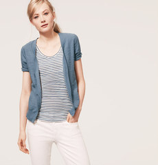 Petite Slubbed Cotton Short Sleeve Cardigan