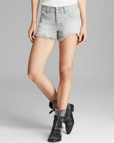 Free People Shorts - Rugged Ripped Sharkbite in Silver Lining