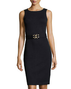 St. John Belted Knit Tank Dress, Onyx