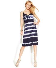 INC International Concepts Petite Ruffled Tie-Dye Sleeveless Dress