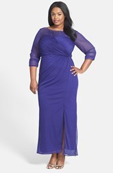 Alex Evenings Embellished Ruched Bodice Long Dress (Plus Size)