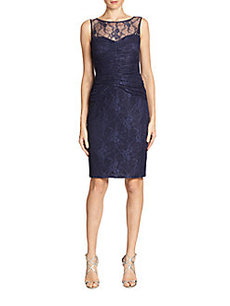 David Meister Ruched Lace Dress