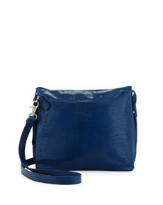 Foley + Corinna Crackled Leather Tablet-Cache Crossbody Bag, Azure