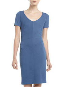 St. John Santana Knit Seam-Waist V-Neck Dress, Bristol Blue