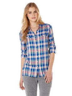 aquatic plaid welt pocket tunic