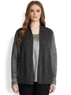 Eileen Fisher, Sizes 14-24 Linen Straight Cardigan