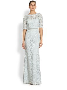 Teri Jon Beaded-Detail Lace Gown