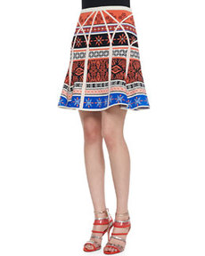 Samara Desert Bands Print Fit-and-Flare Skirt, Multicolor   Samara Desert Bands Print Fit-and-Flare Skirt, Multicolor