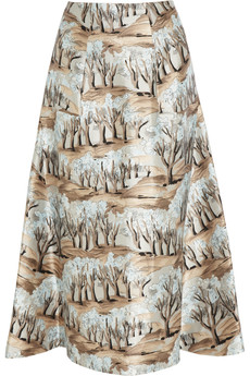Marni Printed satin-twill skirt