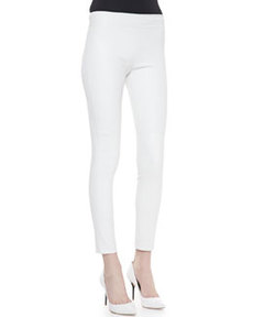 Kristen Skinny Cropped Leather Pants, White   Kristen Skinny Cropped Leather Pants, White
