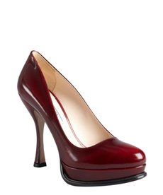 Prada scarlet red leather platform pumps
