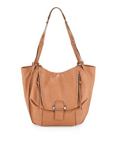 Kooba Zoey Leather Pouch Hobo Bag, Tan