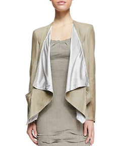 Draped Lambskin Leather Jacket with Jersey Panels   Draped Lambskin Leather Jacket with Jersey Panels