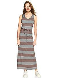 Stripe tank drawstring maxi dress