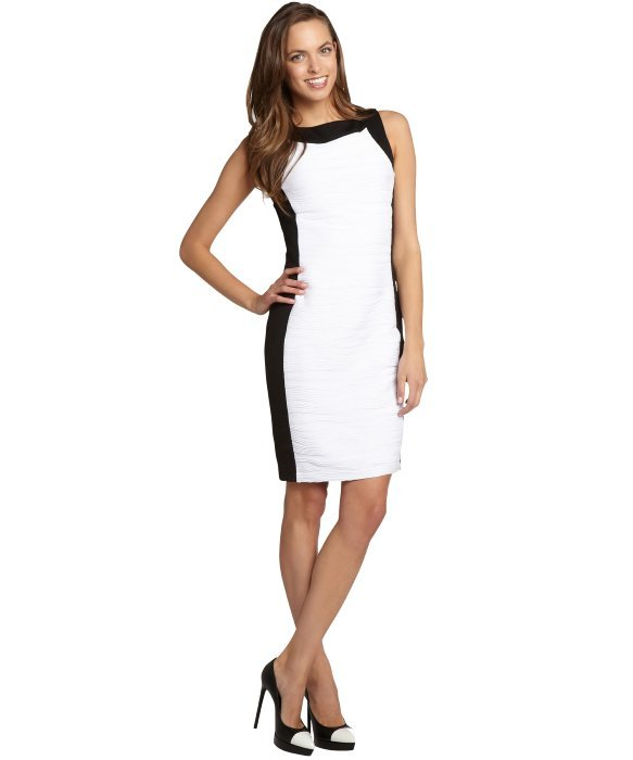 Calvin Klein black and white colorblock ribbed sleeveless dress