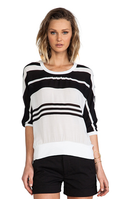 James Perse Striped Chiffon Sweat Shirt in Black & White