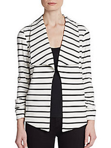 Saks Fifth Avenue BLACK Ruched-Sleeve Ponte Jacket