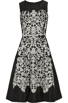 Oscar de la Renta Embroidered silk and wool-blend jacquard dress