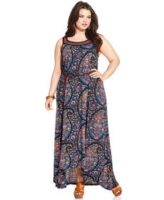Lucky Brand Plus Size Sleeveless Paisley-Print Maxi Dress